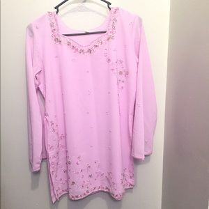 Tops - Pink Indian hand work Tunic full sleeves